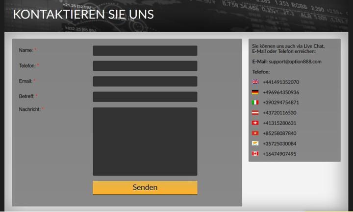 Option888 Support mit deutscher Nummer