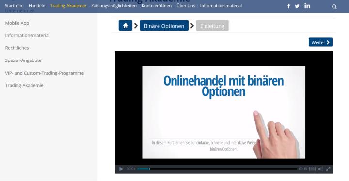 Ein Videokurs zum Binäroptionshandel