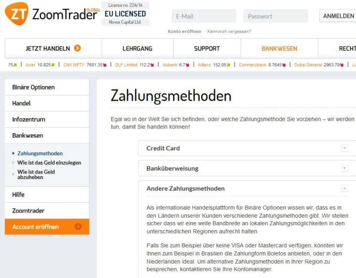 Binäre Optionen Broker Paypal
