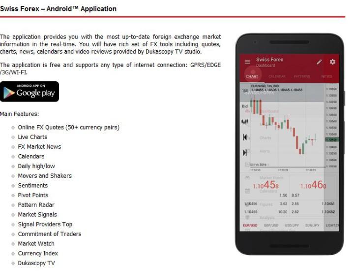 Dukascopy mobiler Handel als App.