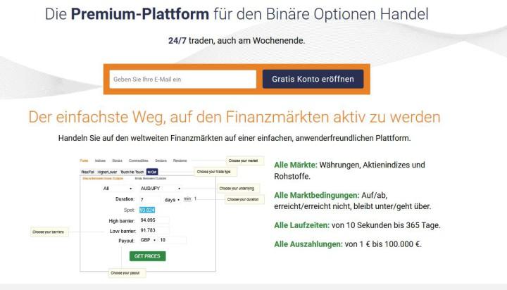 Demokonto und Live-Konto bei binary.com anmelden.