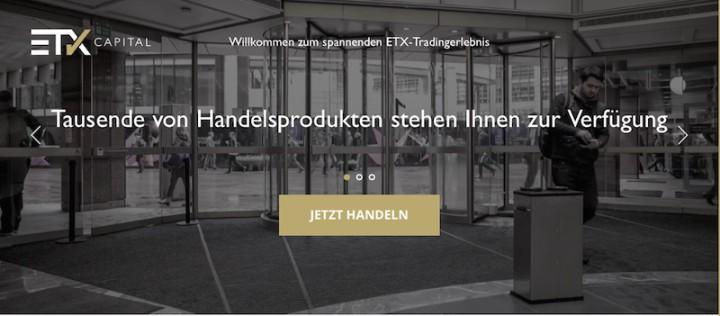 Webseite von ETX Capital