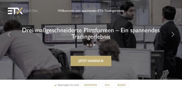 Die Homepage von ETX Capital